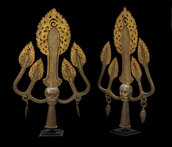 Pair Iron and Gold Symbolic Trident Trisulas