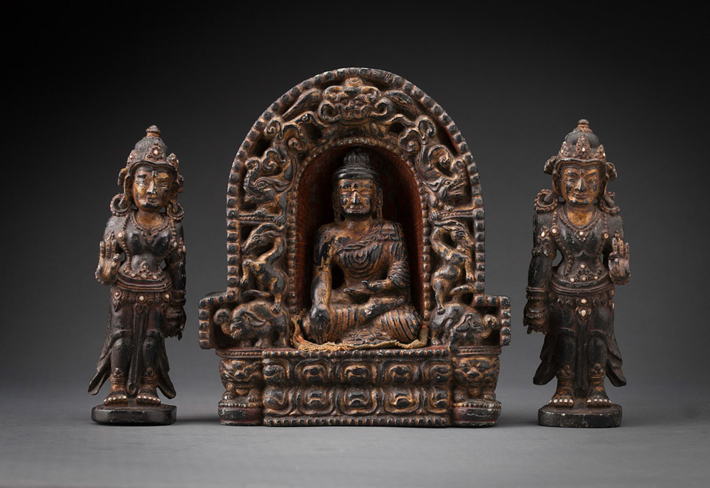 Black Stone Stele Shrine with Separate Buddha and Attendants